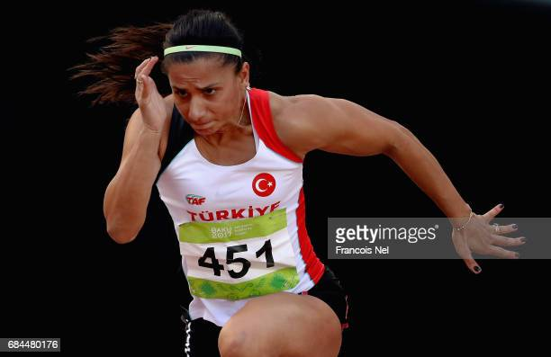 Sanae Zouine of Turkey competes in the Women's 100m Hurdles Final during day seven of Baku 2017 4th Islamic Solidarity Games at the Baku Olympic...
