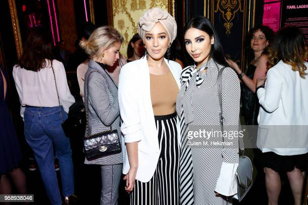 Sananas and guest attend the Karl Lagerfeld ModelCo makeup line launch event at Hotel D'Evreux on May 15 2018 in Paris France