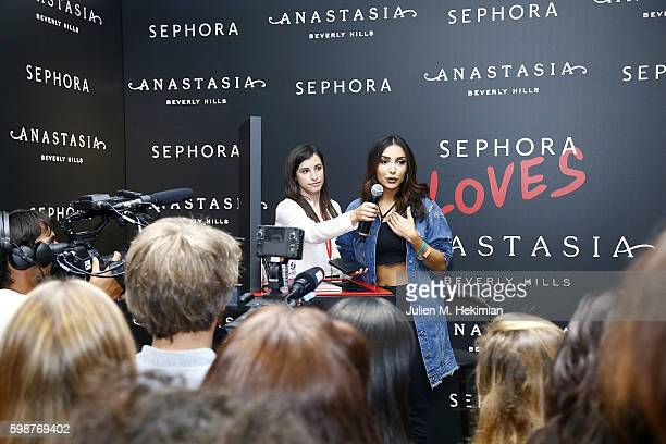 Sananas speaks onstage during the Anastasia Beverly Hills Launches Beauty Line Exclusively at Sephora ChampsElysees on September 2 2016 in Paris...