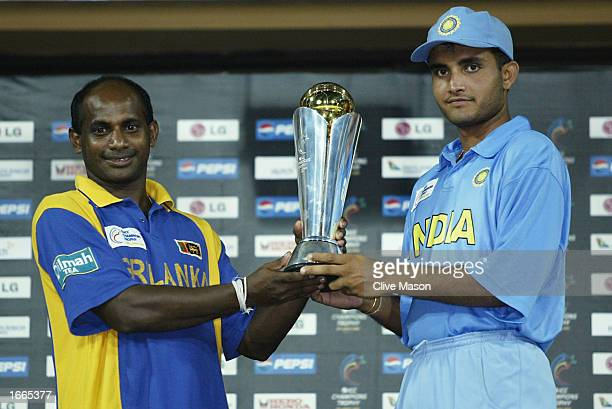 Sanath Jayasuriya of Sri Lanka and Sourav Ganguly of India with the trophy after the rescheduled ICC Champions Trophy final between Sri Lanka and...