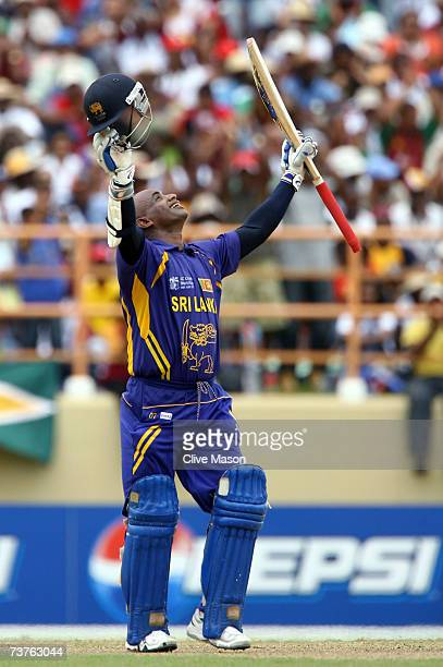 Sanath Jayasuriya of Sri Lanka celebrates his century during the ICC Cricket World Cup Super Eights match between West Indies and Sri Lanka at the...