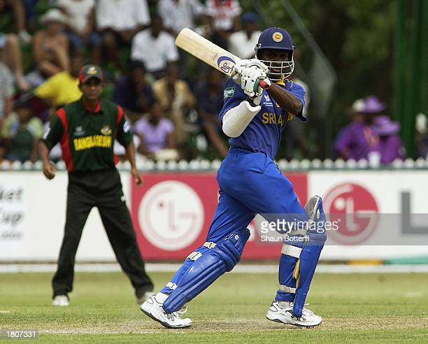 Sanath Jayasuriya of Sri Lanka hits out during the ICC Cricket World Cup 2003 Pool B match between Sri Lanka and Bangladesh held on February 14 2003...