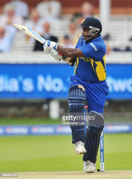 Sanath Jayasuriya of Sri Lanka hits out during the ICC World Twenty20 Super Eights match between Ireland and Sri Lanka at Lord's on June 14 2009 in...