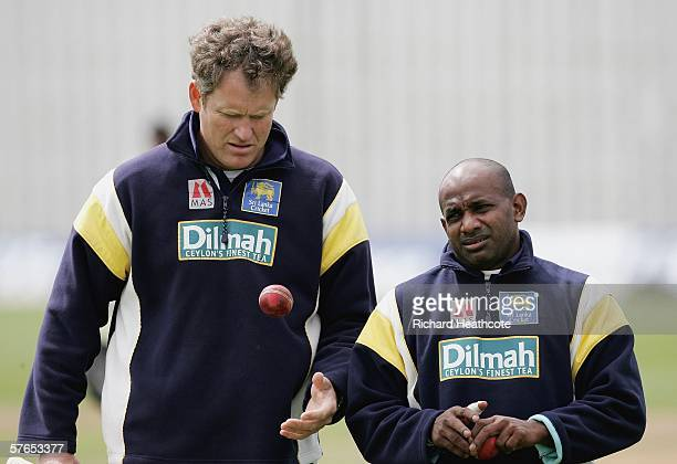 Sanath Jayasuriya of Sri Lanka talks to coach Tom Moody during the warm up before the Tourist match between Sussex and Sri Lanka at The County Ground...