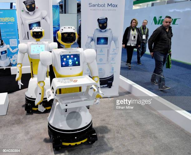 Sanbot Max robots are displayed at the Qihan booth during CES 2018 at the Las Vegas Convention Center on January 11 2018 in Las Vegas Nevada The...