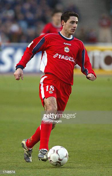 Sanchez Del Amo Victor of Deportivo in action during the Primera Liga match between Espanyol Barcelona and Deportivo La Coruna played at the Olimpico...