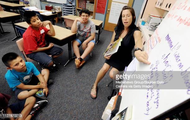 Sanchez Elementary Summer Program46Reading teacher Christy Bouldin talks about mammals with students Andres GonzalezOrtiz Rogeilo Ramirez and Alan...