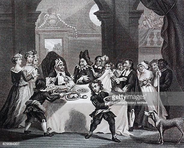 Sancho at the Feast Starved by his Physician' by William Hogarth English painter printmaker pictorial satiriSaint Sancho Panza is a key character in...