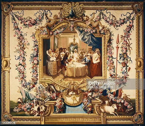 Sancho at the table at Barataria angry with his doctor 18th century Gobelins tapestry woven by Audran after designs by Charles Coypel 171444 from the...
