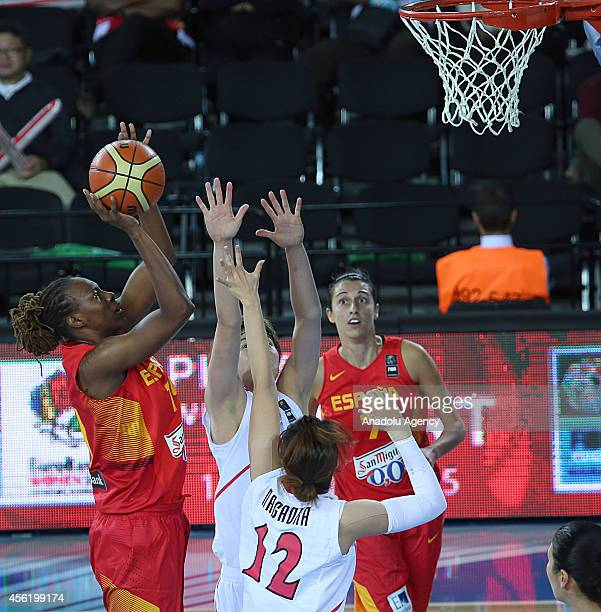 Sancho Lyttle of Spain in action against Moeko Nagaoka of Japan during the 2014 FIBA World Championship For Women Group A basketball match between...