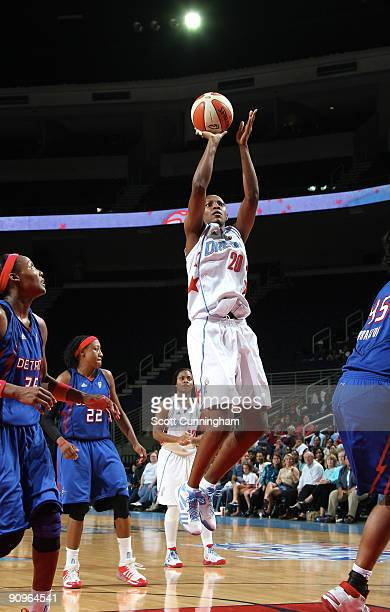 Sancho Lyttle of the Atlanta Dream puts up a shot during Game Two of the WNBA Eastern Conference Semifinals against the Detroit Shock at Gwinnett...