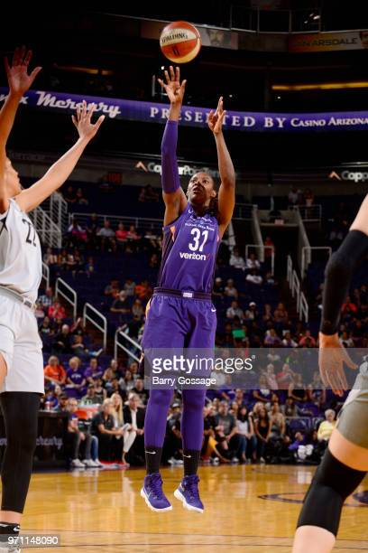 Sancho Lyttle of the Phoenix Mercury shoots the ball against the Las Vegas Aces on June 10 2018 at Talking Stick Resort Arena in Phoenix Arizona NOTE...