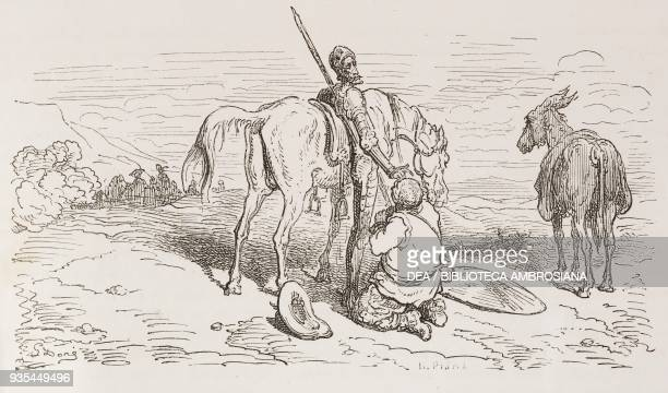 Sancho Panza kissing Don Quixote's hand and helping him onto Rocinante's saddle engraving by Gustave Dore from Don Quixote of La Mancha by Miguel de...
