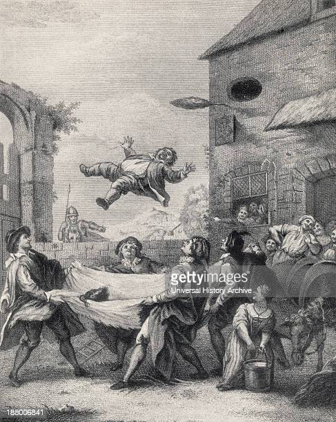 Sancho Panza Tossed In A Blanket By A Band Of Rogues From Don Quixote De La Mancha By Miguel De Cervantes Saavedra From Die Gartenlaube Published 1905