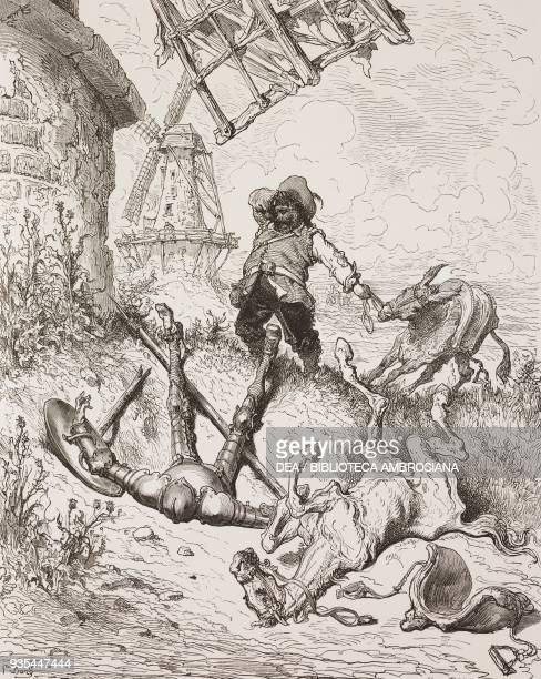 Sancho rescuing Don Quixote after his fight with the mill engraving by Gustave Dore from Don Quixote of La Mancha by Miguel de Cervantes 18801881...
