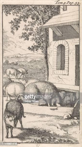 Sancho sleeping in a pig trough in front of a farm, Caspar Luyken, Pieter Mortier, 1696