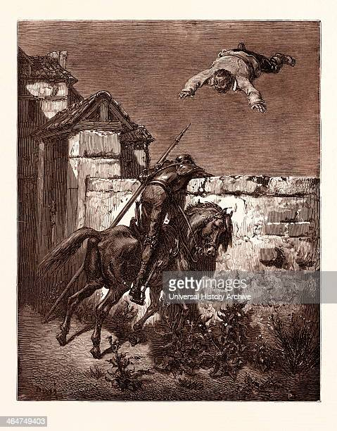 Sancho Tossed In A Blanket By Gustave Dore Dore 1832 1883 French Engraving For Don Quixote By Cervantes 1870 Art Artist Romanticism Colour Color...