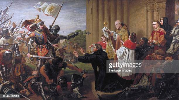 'Sanctuary' 1867 Battle scene from the War of the Roses showing Edward of York pursuing Lancastrians who had sought sanctuary at Tewkesbury Abbey...