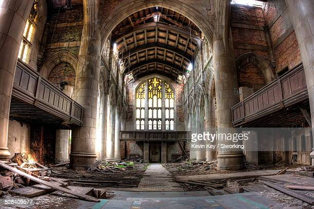 sanctuary, abandoned city methodist church - indiana stock pictures, royalty-free photos & images
