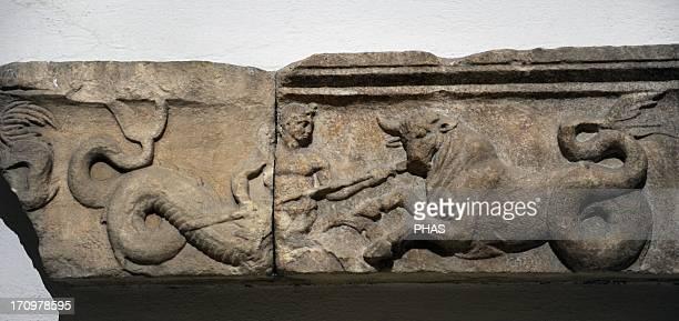 Sanctuary of Athena 2nd century BC Fragment of the frieze depicting marine centaurs Acropolis of Pergamum Pergamon Museum Berlin Germany