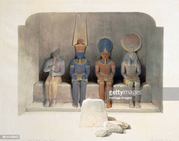 Sanctuary of the Temple of Abu Simbel Egypt 19th century Statues inside the Temple of Abu Simbel built during the reign of Rameses II and dedicated...