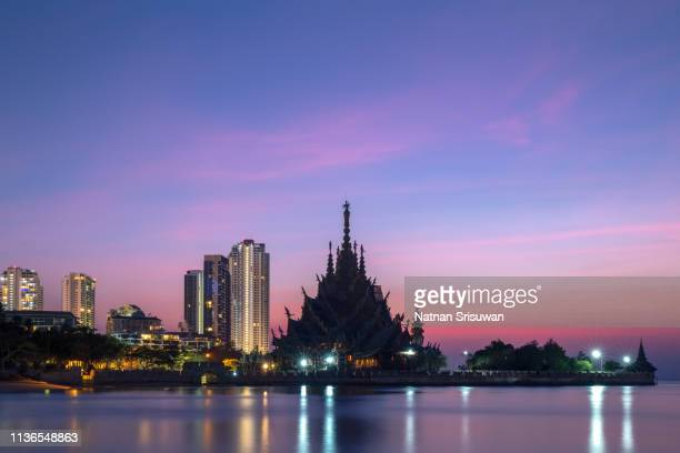 sanctuary of truth on the seashore. - chonburi province stock pictures, royalty-free photos & images
