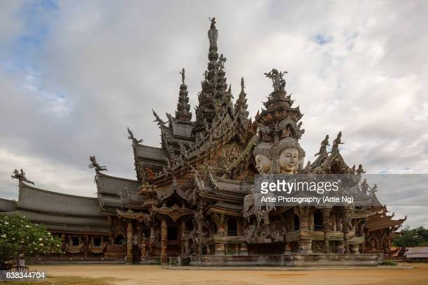 sanctuary of truth, pattaya, thailand - khmer art stock photos and pictures