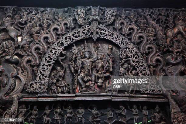 sanctum doorway lintel of chennakeshava temple - karnataka stock pictures, royalty-free photos & images