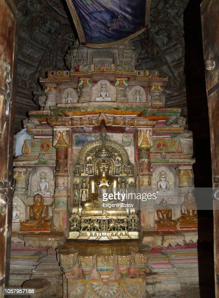 sanctum in jain temple. jaisalmer, rajasthan, india. - jain temple stock photos and pictures