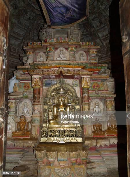 sanctum in jain temple. jaisalmer, rajasthan, india. - jain stock photos and pictures