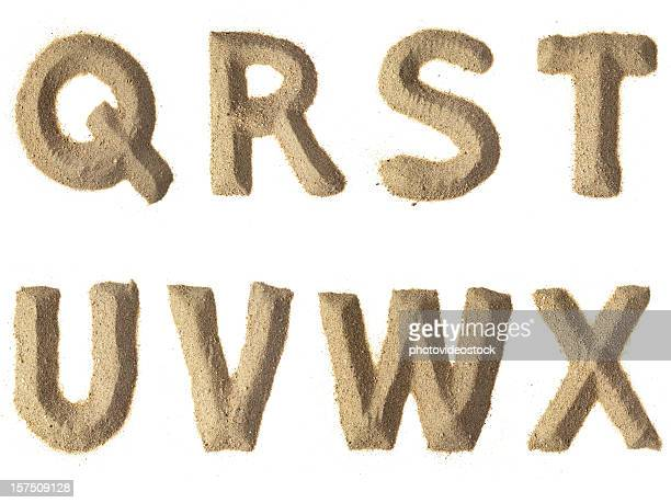 sand alphabet xxxl - font stock photos and pictures