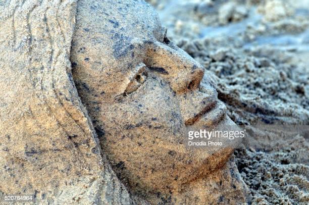 Sand art at Puri beach, Orissa, India