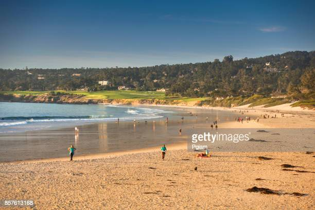 Sand beach by the Pacific Ocean coastline in Carmel California near Monterey
