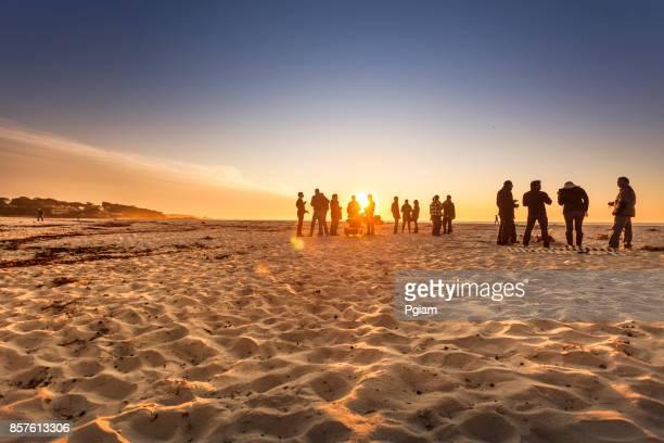 Sand beach by the Pacific Ocean coastline in Carmel California near Monterey
