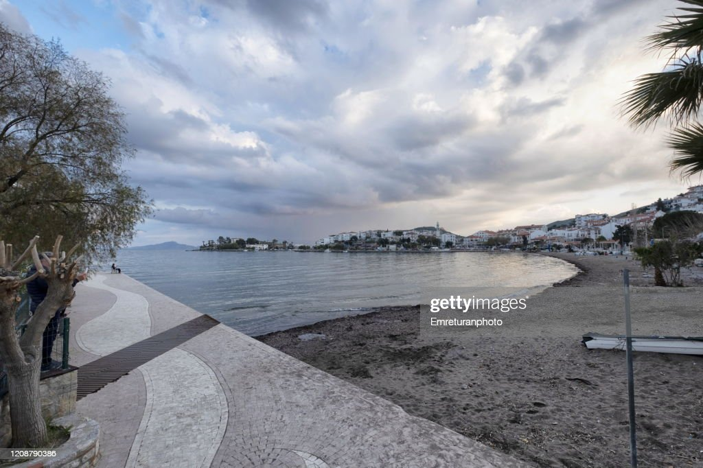 Sand beach on a cloudy day in winter in Datca;Aegean Turkey. : Stock Photo
