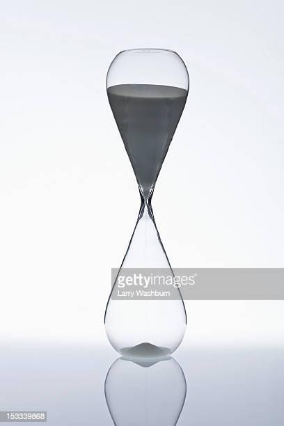 Sand beginning to run through an hourglass