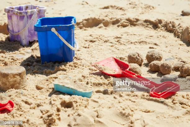 Sand buckets and spade at the beach
