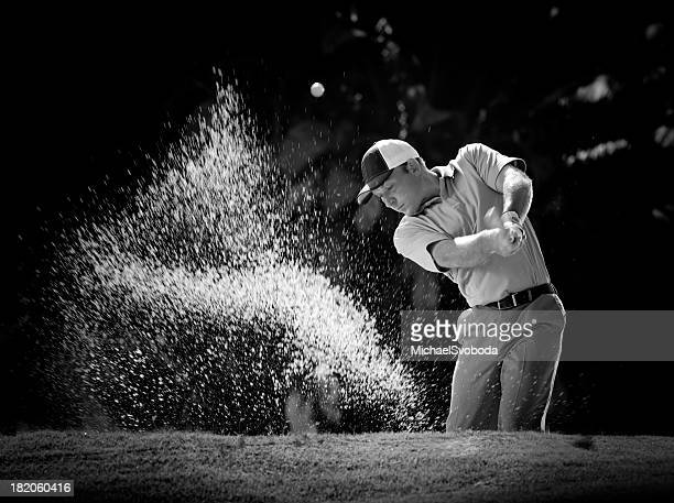 b&w sand bunker shot - chip shot stock pictures, royalty-free photos & images
