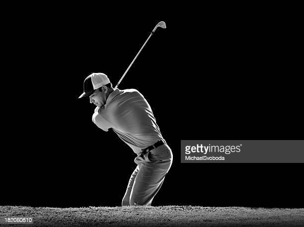 b&w sand bunker shot - golf swing stock pictures, royalty-free photos & images
