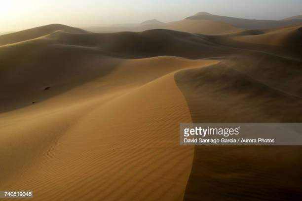 Sand carried by wind at Erg Chebbi dunes in Sahara Desert