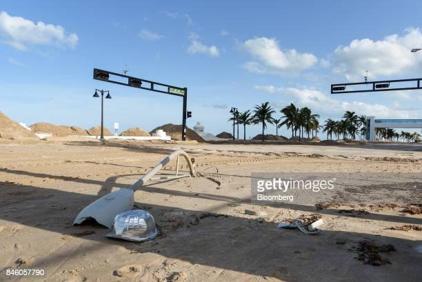 Sand covers State Road A1A after Hurricane Irma in Fort Lauderdale Florida US on Monday Sept 11 2017 Seven million utility customers across the US...