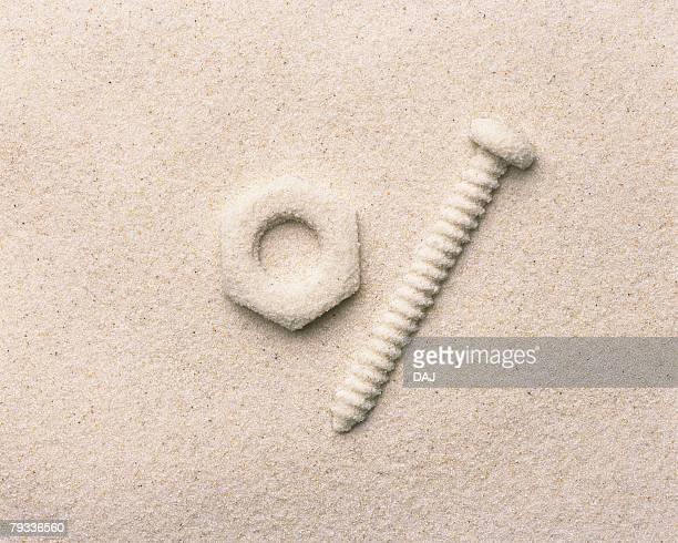sand craft of industrial tools, high angle view - small group of objects stock pictures, royalty-free photos & images