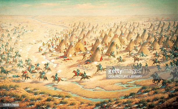 Sand Creek Massacre, November 29 by Robert Lindneux. Native American Wars, United States, 19th century.