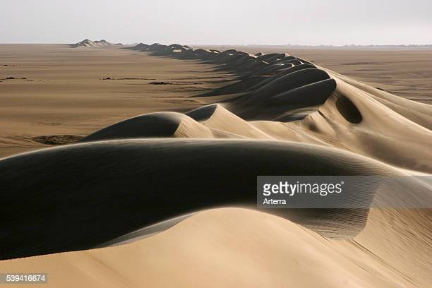 Sand dune belt and sunrise in the Erg of Bilma a Dune Sea in the Tenere desert region of the south central Sahara Niger Western Africa