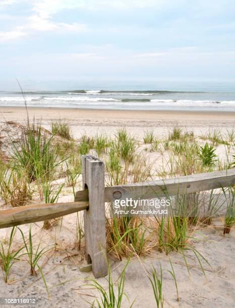 sand dune, dune grass, ocean surf, new jersey coast - arthur foto e immagini stock