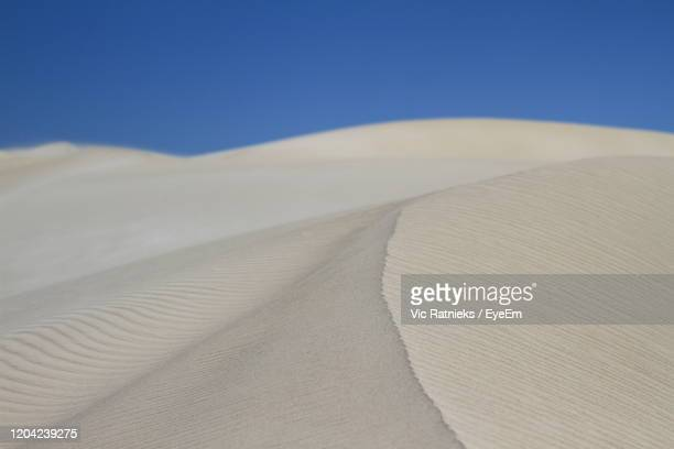 sand dune in desert against blue sky - ratnieks stock pictures, royalty-free photos & images