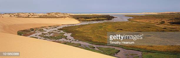 sand dunes and estuary with ocean and sky beyond - timothy hearsum stockfoto's en -beelden