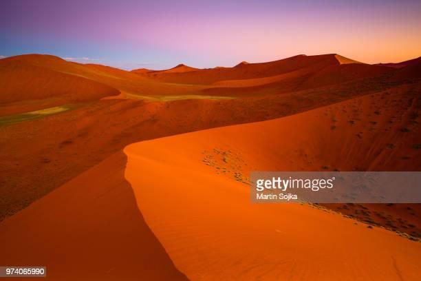 Sand dunes at dusk, Sossusvlei, Namib Desert, Namib-Naukluft National Park, Namibia, Africa