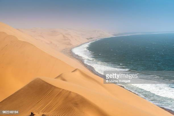 sand dunes at sandwich harbour, namibia - namib naukluft national park stock pictures, royalty-free photos & images