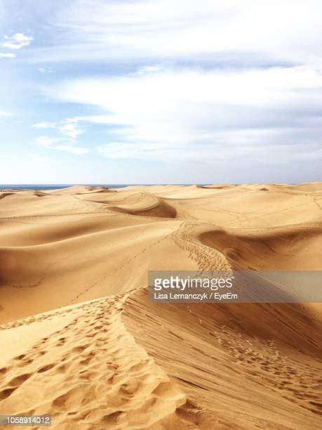 sand dunes in desert against sky - grand canary stock pictures, royalty-free photos & images